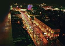 Nocy Moskwa widok od hotelu obraz stock