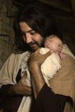 Nocy narodzenia jezusa Bożenarodzeniowa scena obrazy stock
