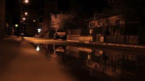 Nocy odmieniania ostrość Wzdłuż chodniczka zbiory wideo