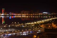 Nocy panorama Kazanka rzeka Nowożytny Kazan Zdjęcia Stock