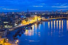 Nocy panorama Kijów Zdjęcie Royalty Free