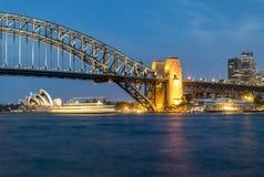 Nocy panorama Sydney schronienie, Australia obrazy royalty free