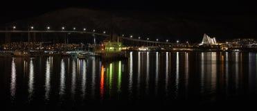 Nocy panorama Tromso, Norwegia Zdjęcia Stock