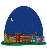 Nocy panorama z ślicznym miasteczkiem royalty ilustracja