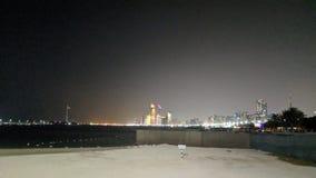 Nocy plażowa panoramiczna scena na palmie Zdjęcia Stock