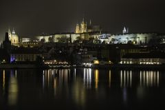 Nocy Praga widok zdjęcia royalty free