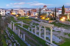 Nocy Romańska agora w Ateny, Grecja Obrazy Royalty Free