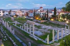 Nocy Romańska agora w Ateny, Grecja Zdjęcia Royalty Free