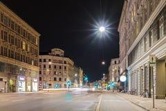 Nocy rozdroża - zielone światło, Kopenhaga Zdjęcia Stock