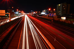 Nocy ruch drogowy Obraz Stock