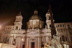 Nocy Sant Agnese kościół w piazza Navona w Rzym, Włochy Obraz Stock