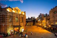 Nocy scena czerwień domu teatr w Taipei Obrazy Royalty Free