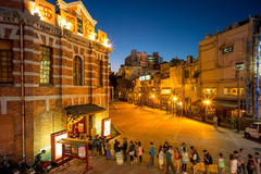 Nocy scena czerwień domu teatr w Taipei Fotografia Stock