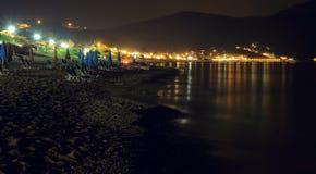 Nocy scena grodzki ażio Georgios pagon na wyspie Corfu Zdjęcie Royalty Free
