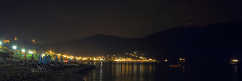 Nocy scena grodzki ażio Georgios pagon na wyspie Corfu Zdjęcia Royalty Free