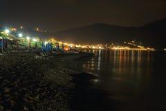 Nocy scena grodzki ażio Georgios pagon na wyspie Corfu Fotografia Stock