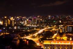 Nocy scena miasto Sanya Obrazy Stock