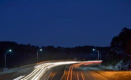 Nocy scena na autostradzie Fotografia Stock