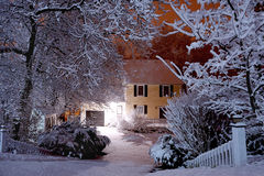 Nocy scena podczas śnieżycy Obrazy Stock