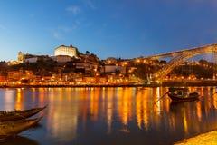 Nocy scena Porto, Portugalia Fotografia Royalty Free