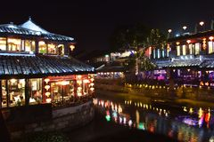 Nocy scena przy Xitang Obraz Stock