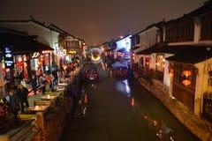 Nocy scena Shantang Uliczny Li Shantang w Suzhou, Jiangsu, Chiny Obrazy Stock