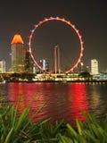 Nocy scena Singapur ulotka przy Marina zatoką fotografia stock