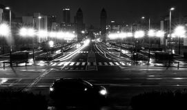 Nocy scena w Barcelona Obrazy Royalty Free