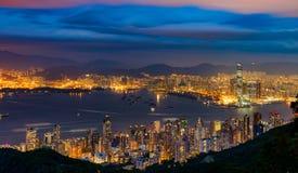 Nocy scena Wiktoria schronienie, Hong Kong zdjęcia stock