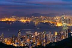 Nocy scena Wiktoria schronienie, Hong Kong obraz royalty free