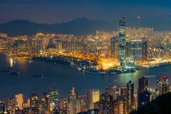 Nocy scena Wiktoria schronienie, Hong Kong zdjęcia royalty free