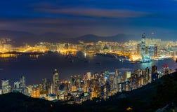 Nocy scena Wiktoria schronienie, Hong Kong zdjęcie stock