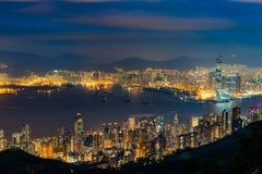Nocy scena Wiktoria schronienie, Hong Kong fotografia stock