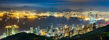 Nocy scena Wiktoria schronienie, Hong Kong obraz stock