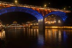 Nocy sceneria Phoenix miasteczko (Fenghuang antyczny miasto) Zdjęcia Stock