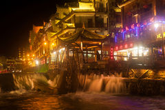 Nocy sceneria Phoenix miasteczko (Fenghuang antyczny miasto) Obrazy Stock