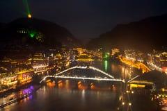 Nocy sceneria Phoenix miasteczko (Fenghuang antyczny miasto) Obrazy Royalty Free
