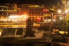 Nocy sceneria Phoenix miasteczko (Fenghuang antyczny miasto) Zdjęcia Royalty Free