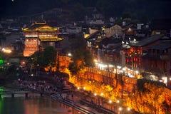 Nocy sceneria Phoenix miasteczko (Fenghuang antyczny miasto) Obraz Royalty Free