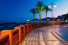 Nocy scenerii widok bulwar, Seacoast, plaża Fotografia Royalty Free