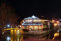 Nocy sceny chińczyk nawadniają wioskę Xitang w Zhejiang prowinci, Chiny Fotografia Stock