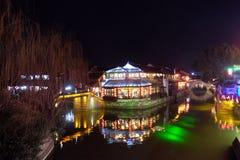 Nocy sceny chińczyk nawadniają wioskę Xitang w Zhejiang prowinci, Chiny Obrazy Stock