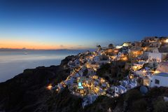 Nocy sceny Oia Santorini Obraz Royalty Free