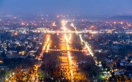 Nocy sceny Shah Faisal meczet Islamabad fotografia royalty free