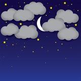 Nocy tła biały papier chmurnieje, nocne niebo, księżyc, gwiazdy Obrazy Royalty Free