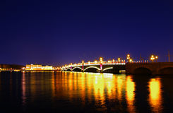 Nocy trójcy most, święty Petersburg Zdjęcia Stock