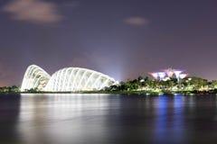 Nocy ujawnienia długa fotografia Singapore rzeka, kwiat kopuła, chmura Zdjęcia Stock