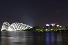 Nocy ujawnienia długa fotografia Singapore rzeka, kwiat kopuła, chmura Obraz Stock