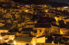 Nocy ulica, Scicli, Sicily, Włochy zdjęcia stock