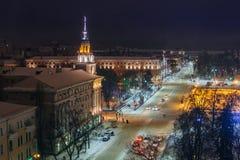 Nocy Voronezh śródmieście w zimie, powietrzny lato pejzaż miejski od dachu zdjęcie stock